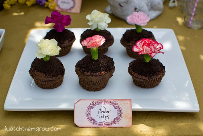 "Cute garden fairy cupcakes! Chocolate cupcake with Orea ""dirt"" and real flowers!"