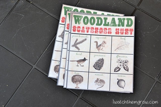 Woodland scavenger hunt free printable