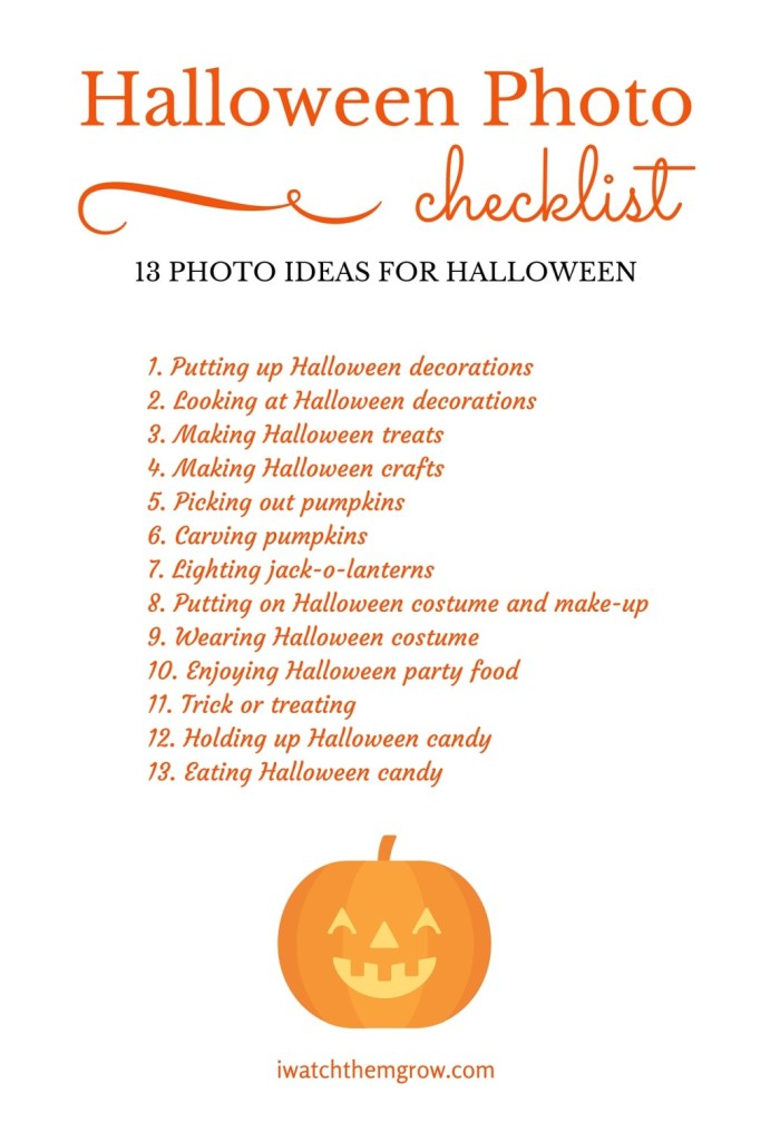 Halloween Photo Ideas - Free Printable Checklist