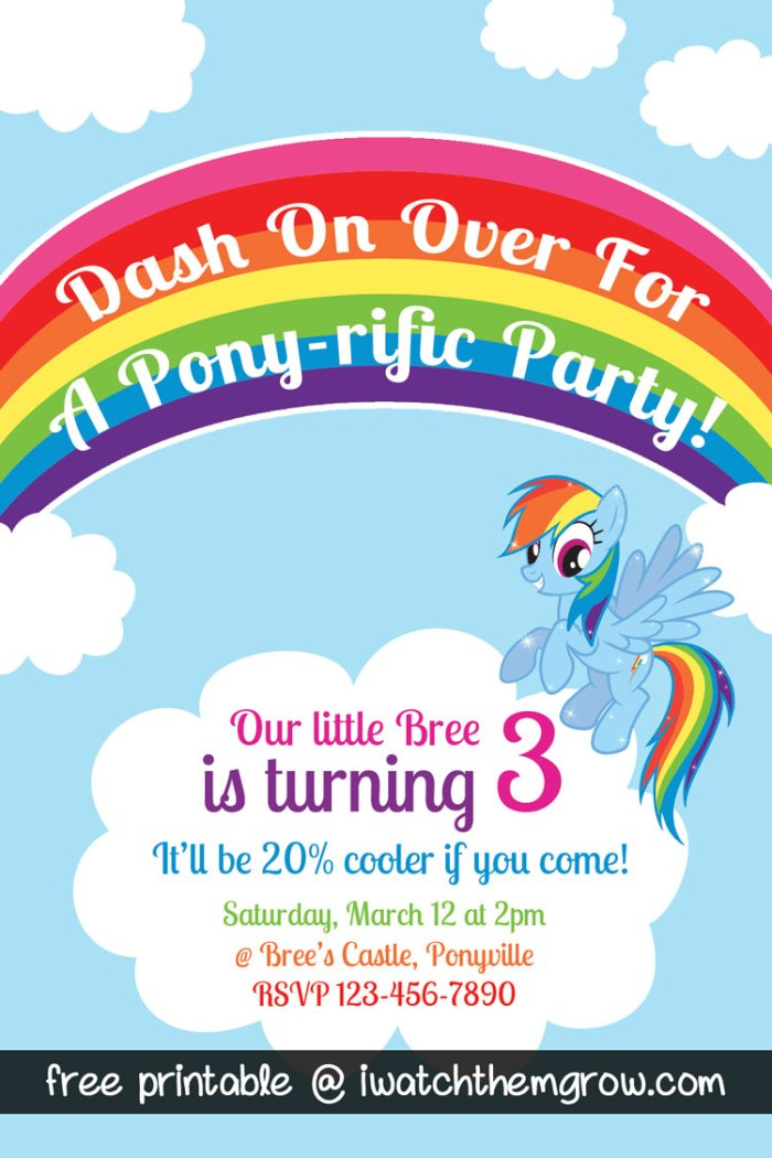 FREE PRINTABLE invitation for a My Little Pony Rainbow Dash birthday party!