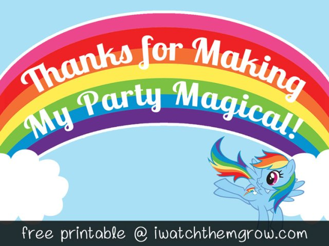 FREE PRINTABLE Thank You Card Or Favor Tag For A My Little Pony Rainbow Dash Birthday