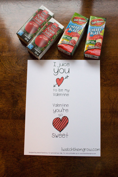 Valentine juice box wrappers