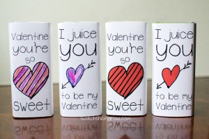 Free printable Valentine juice box wrappers in both red AND black and white so your kid can color them in!