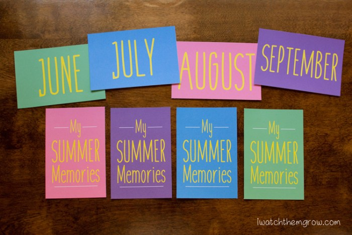 Free printables for a kid's journal album! My Summer Memories title card plus month cards