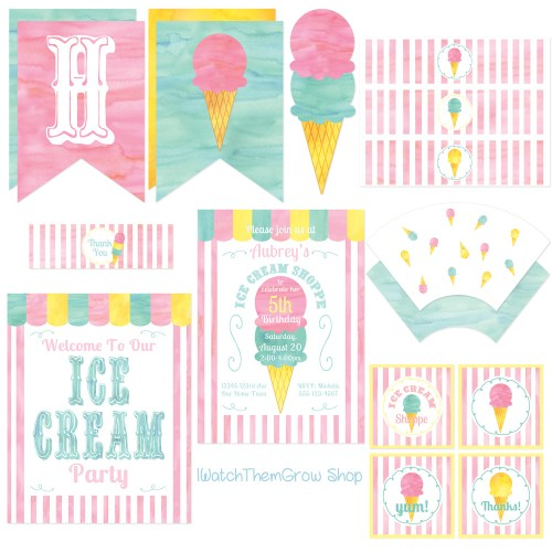 ice cream shoppe party printables
