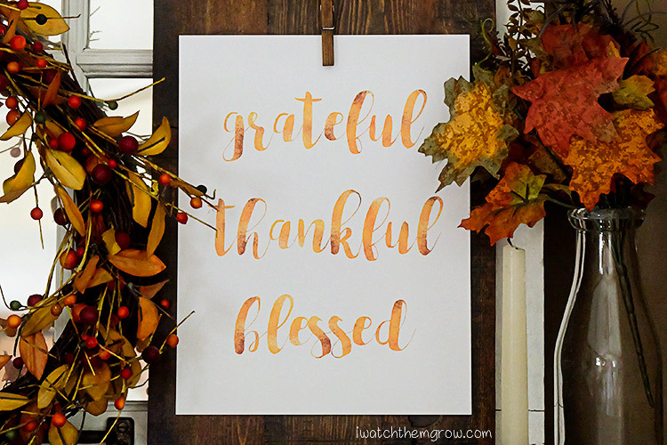 Grateful Thankful Blessed Free Printable