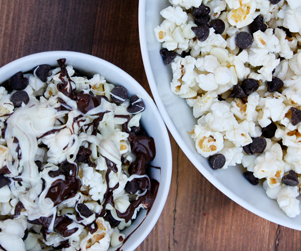 White and milk chocolate popcorn - black and white Halloween party ideas