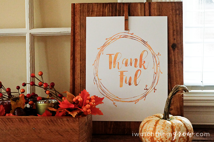 Free Gold Thankful Printable