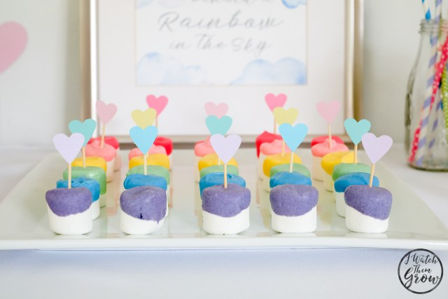 The rainbow dipped marshmallows are a cute and easy rainbow party treat!