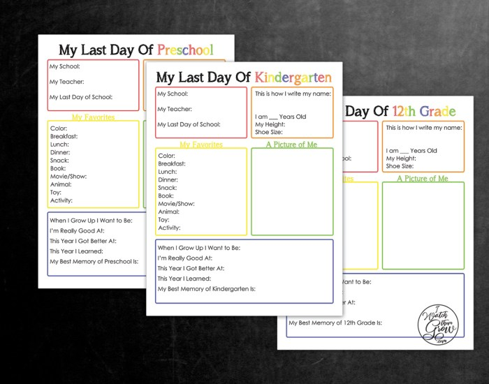 Free printable last day of school interview