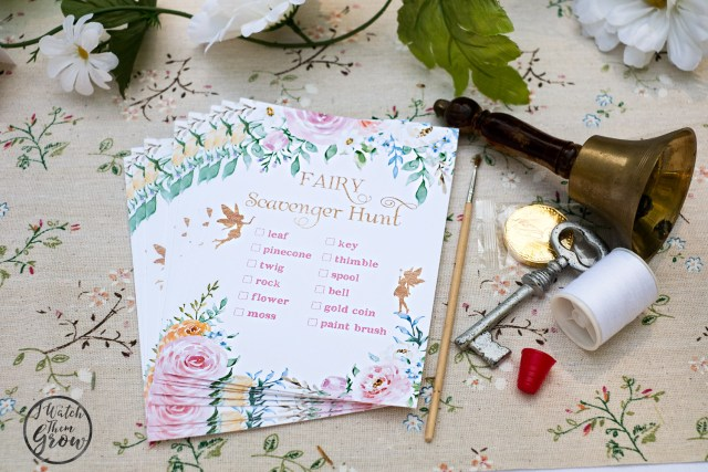 Fairy party game idea - have a fairy scavenger hunt! Lovely printable and customizable fairy scavenger hunt cards!