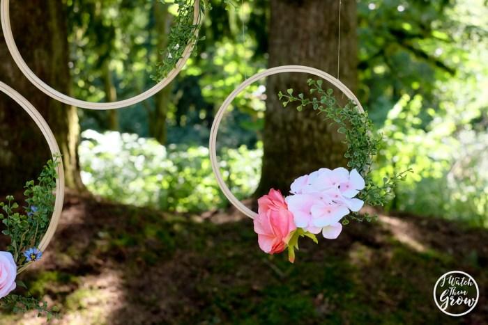 DIY floral hoop party backdrop