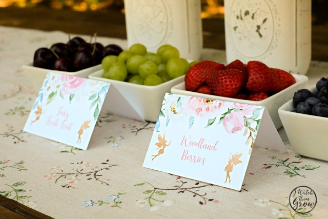 Fairy party food ideas - woodland berries and fairy fresh fruit! Labeled with lovely fairy buffet cards!