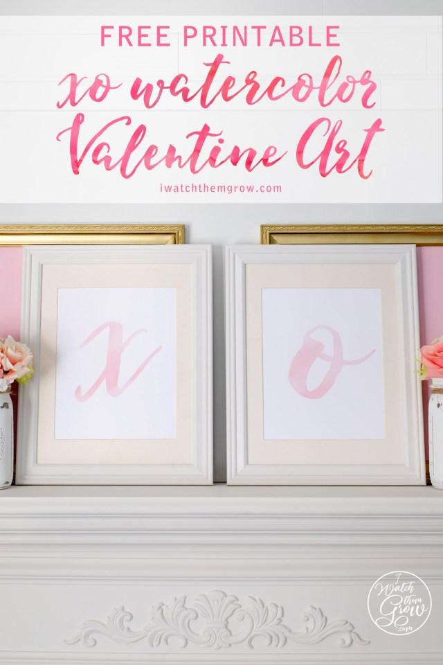 Beautiful pink watercolor valentine art free printables!