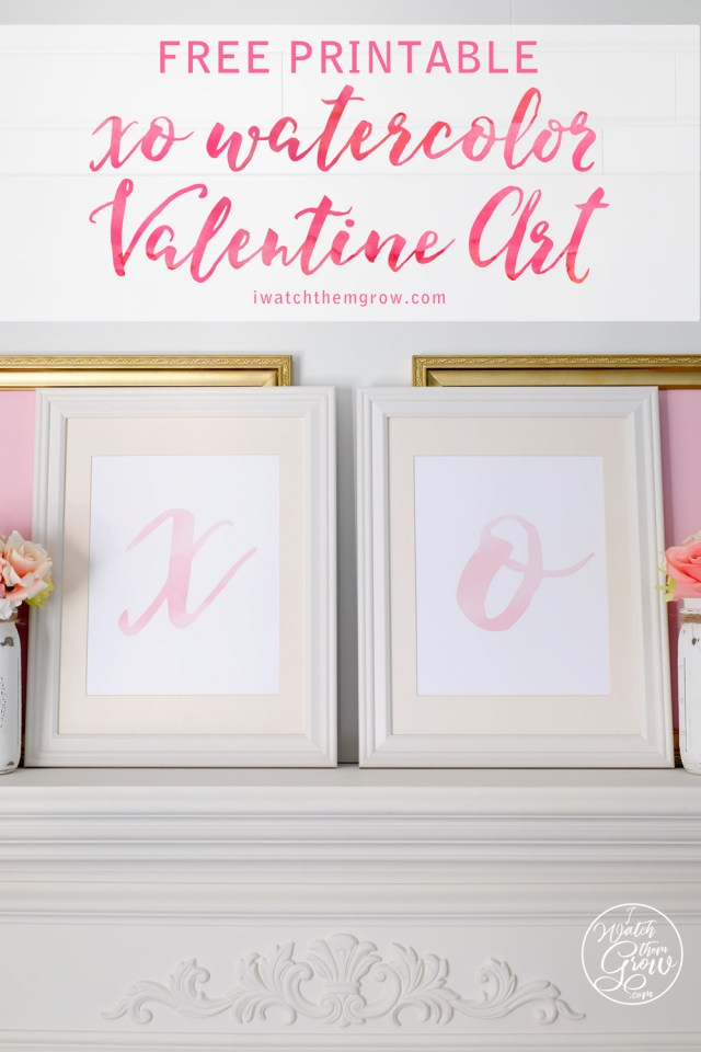 Beautiful pink watercolor valentine art free printables!
