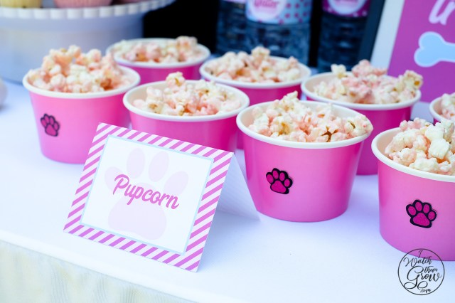 """Pupcorn"" tent card, with an easy DIY treat made with popcorn and cake mix!"