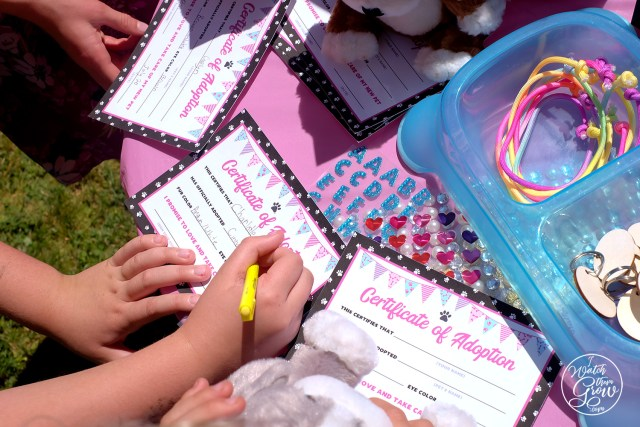 Puppy party printables - Certificate of Adoption. Children filling out their certificates at the party.