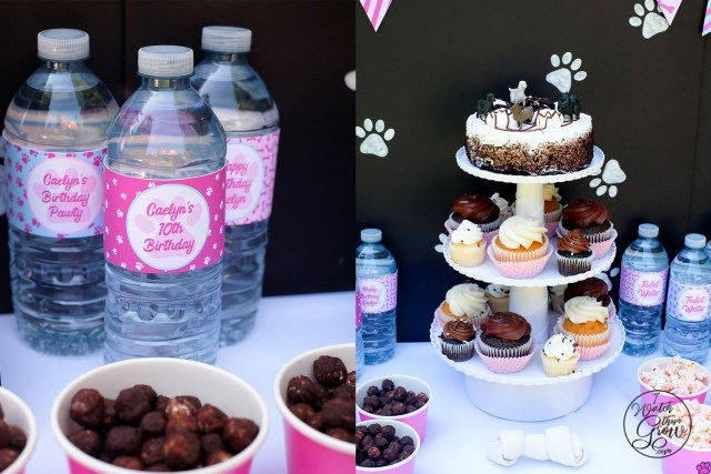 Puppy party water bottles with custom printable wrappers, and a puppy themed cake and cupcake stand.
