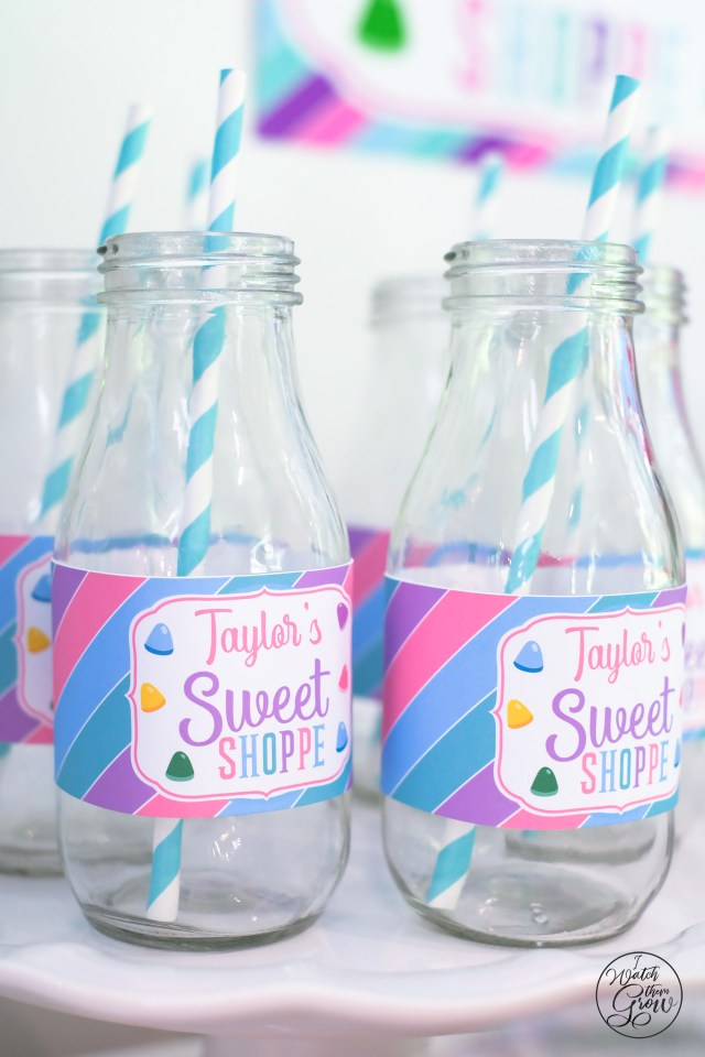 Sweet shoppe party milk bottles