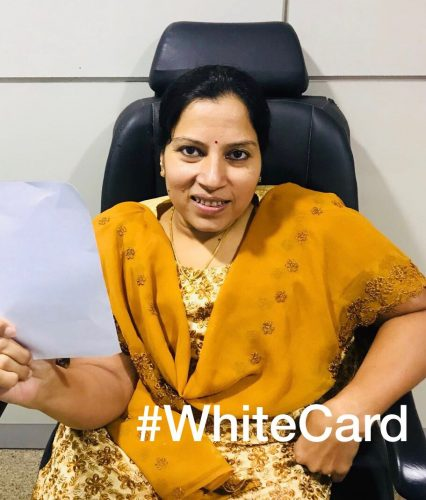President of WBFI, Madhavi Latha, raises the #WhiteCard