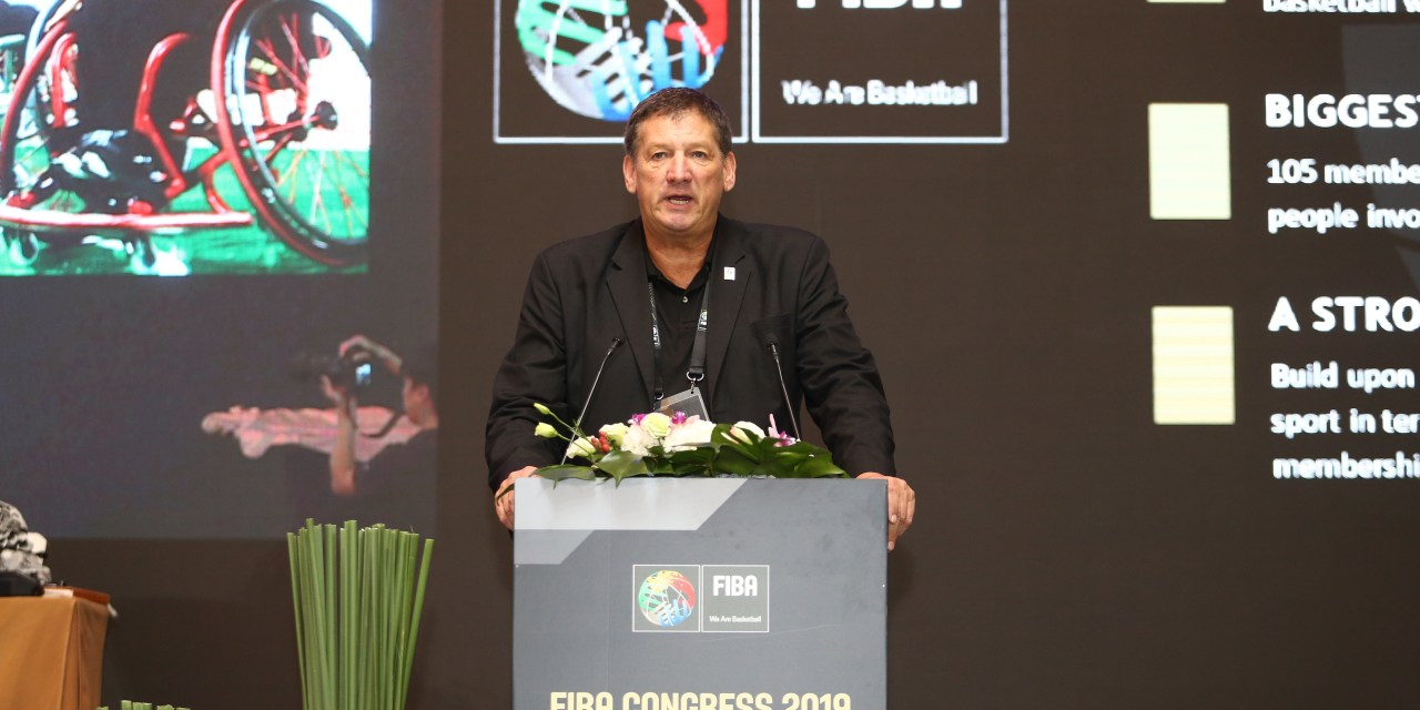 IWBF's President Ulf Mehrens presents at FIBA Congress