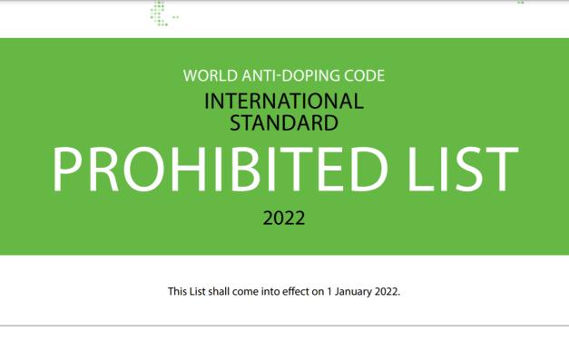WADA publishes 2022 Prohibited List