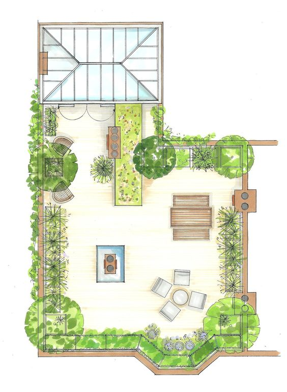 Garden designers sketch and ideas turned into complete 2D drawing of your dream garden and ideal garden space
