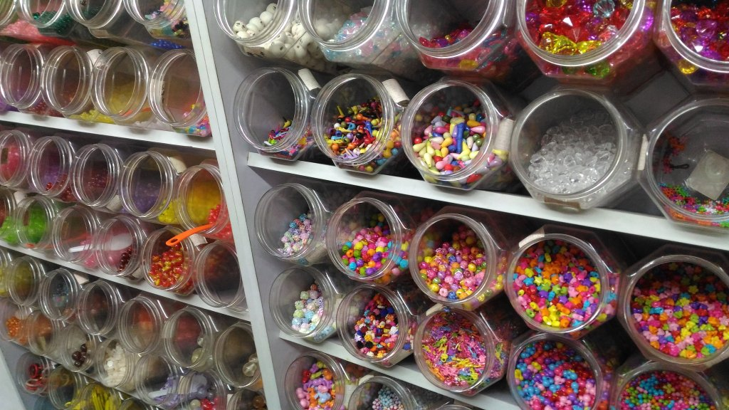 jars of beads in a craft shop in Sham Shui Po