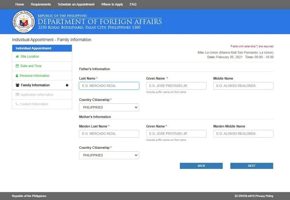 Philippine passport renewal online form