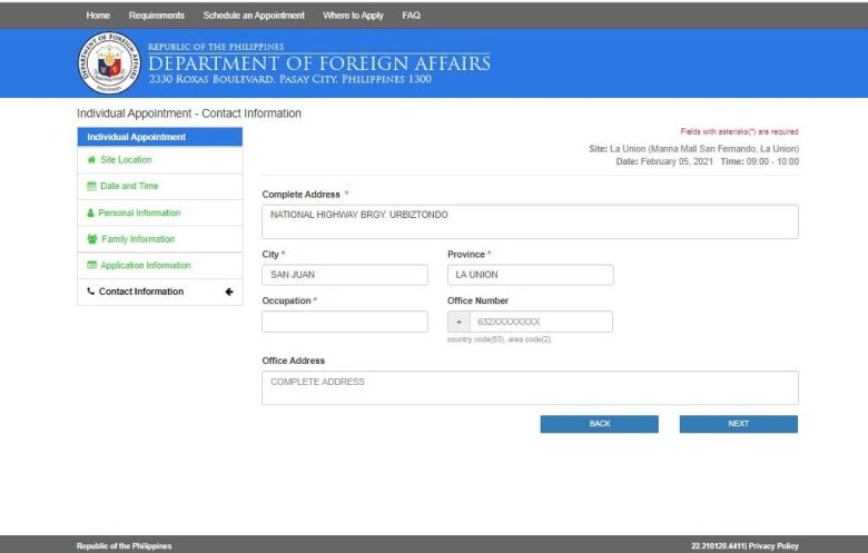 Philippine passport renewal online form