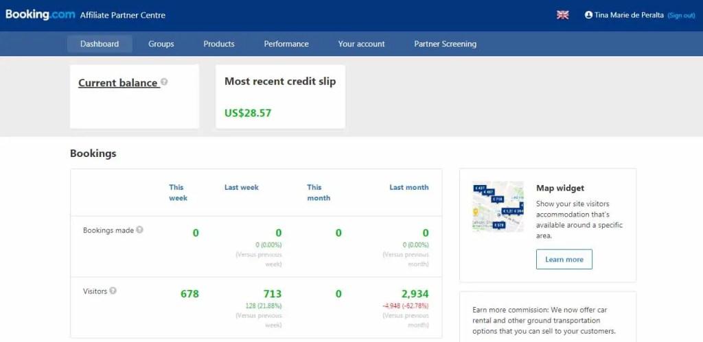 My Booking.com earnings