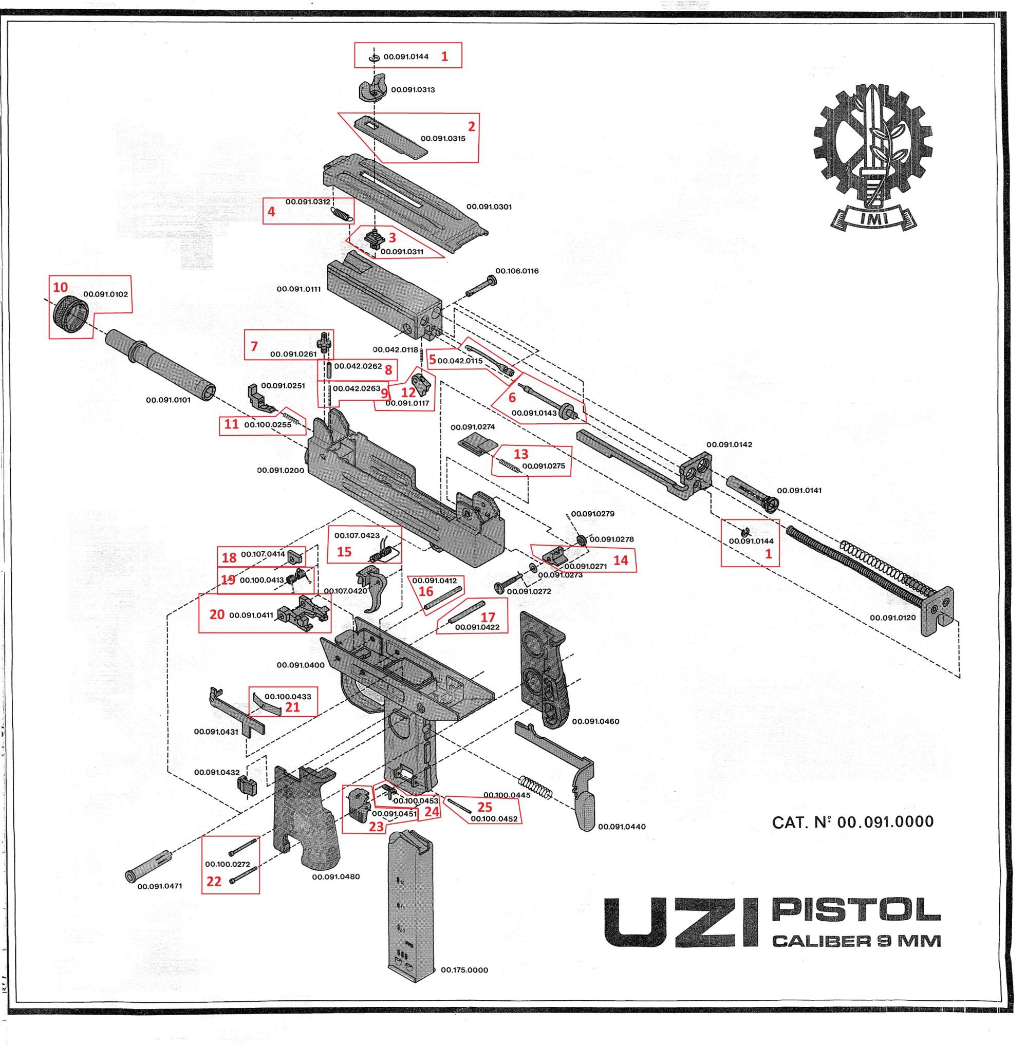 hight resolution of  pistol exploded diagram