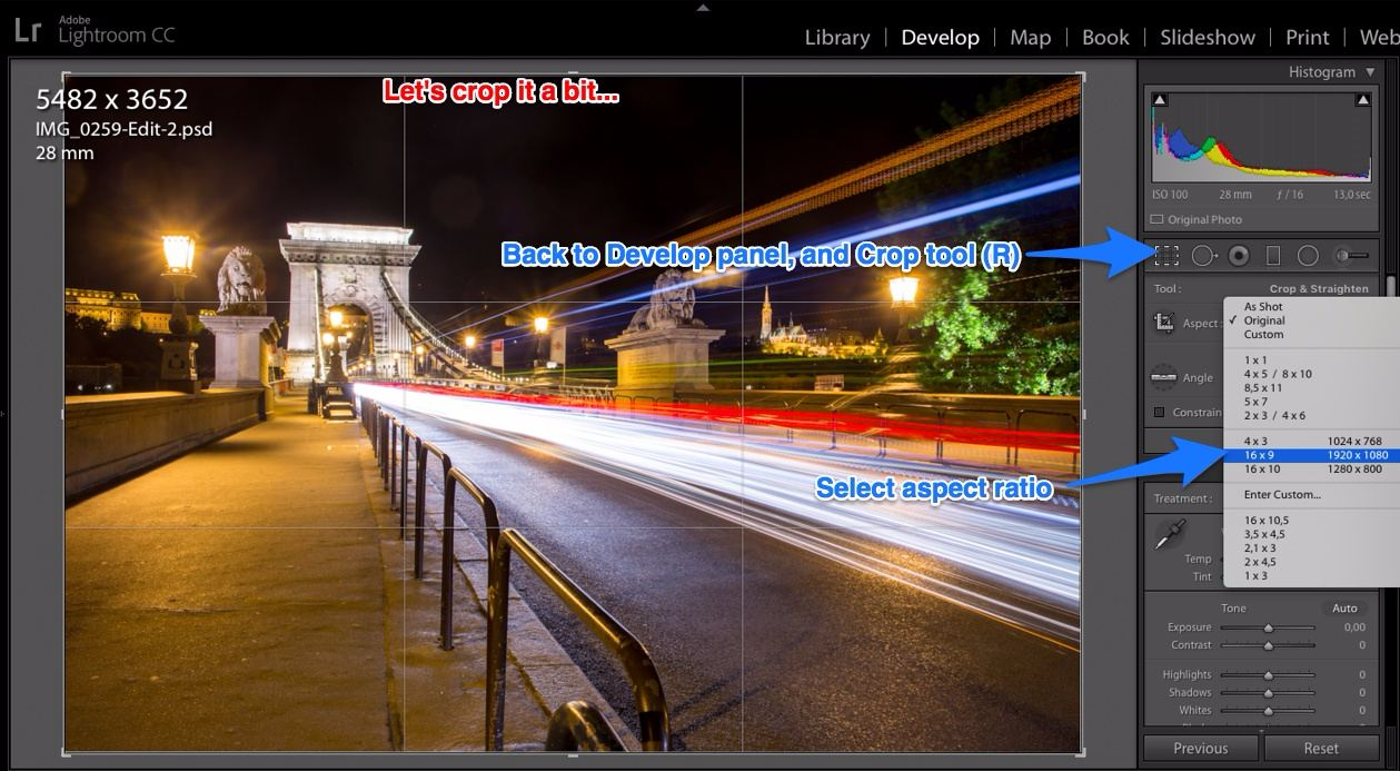 cropping in Lightroom 16:9