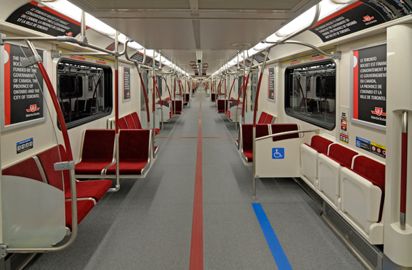 Inside a subway train in Toronto, Ontario, Canada
