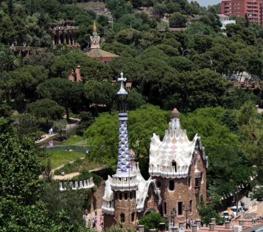 Park Guell, by Antonio Gaudi showing the three dimensional cross and the mushroom