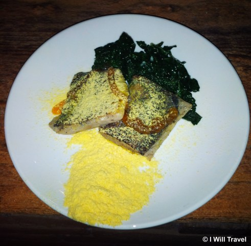 Buderim ginger and lime spiked barramundi with sweet chili, wilted greens with Australian olive oil.