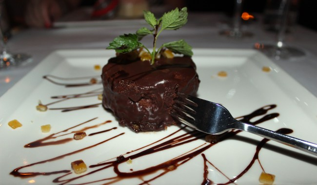 Homemade chocolate brownie served at Spajza