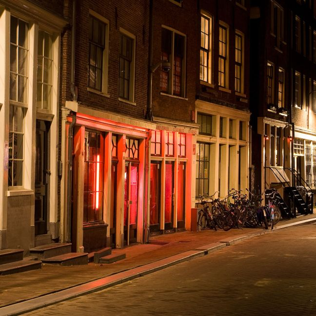 The red-light district in Amsterdam.