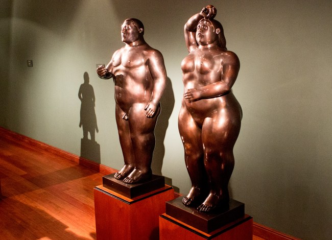 Adam and Eve bronze sculpture in Botero Museum