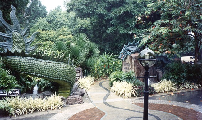 Dragon sculptures and ground in Sentosa Island Singapore