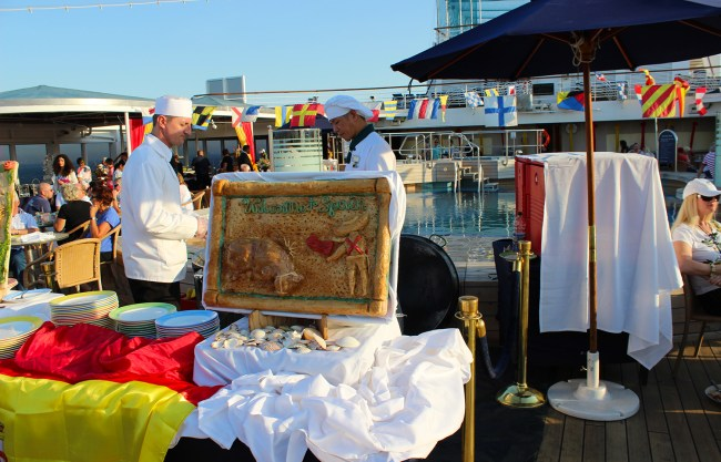Spanish Theme Food served on-board the ship on arrival to Barcelona