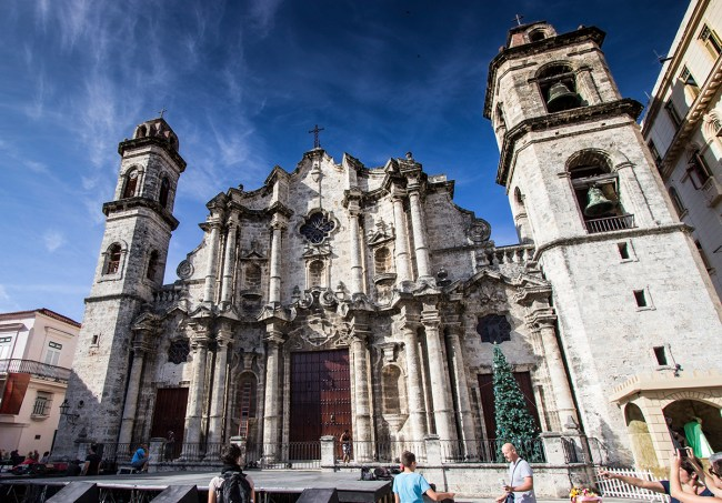 The front view of the Cathedral of Havana, Cuba.