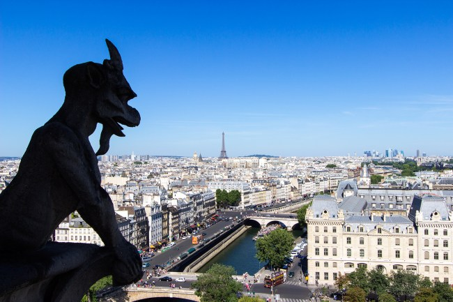 View of Paris and the Eiffel Tower from the Notre-Dame Cathedral towers