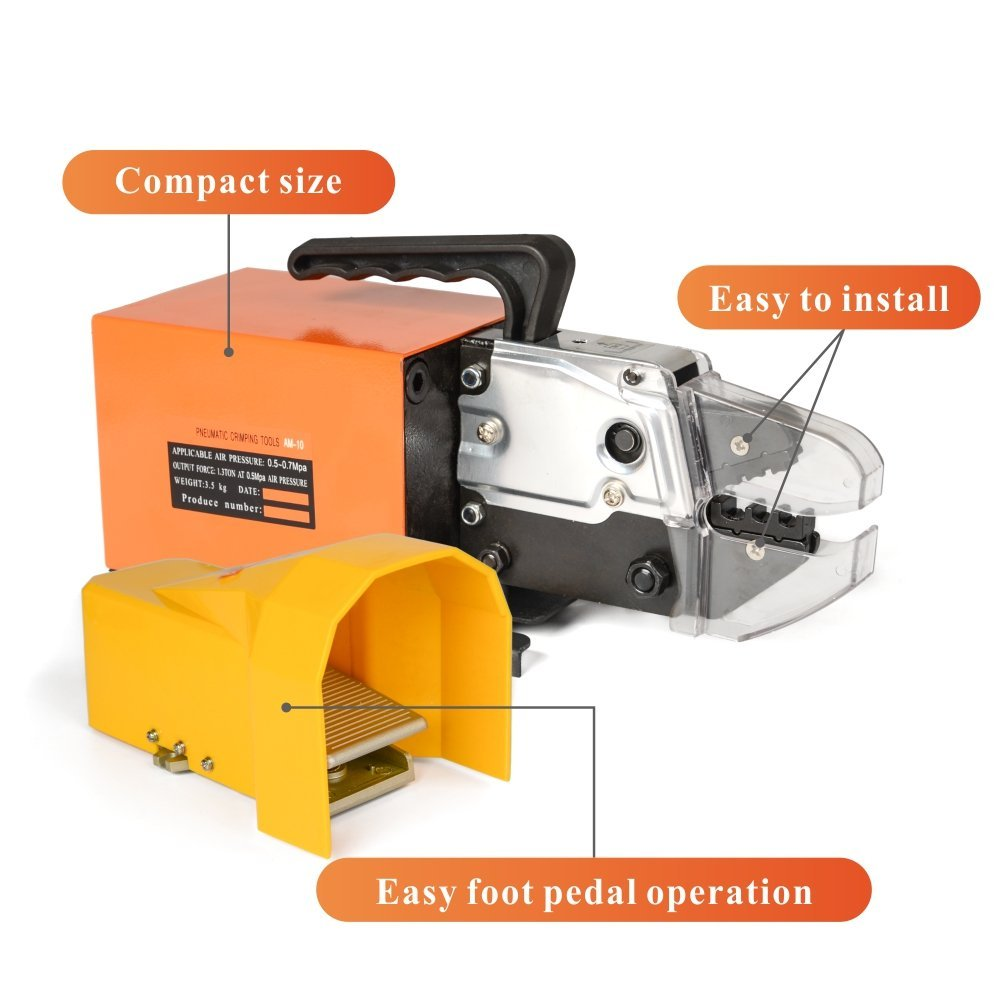 IWISS AM-10 Pneumatic Crimper Plier Machine Tools for Terminals Ferrules Crimping up to 16mm2 Max with 5 Optional Die Sets