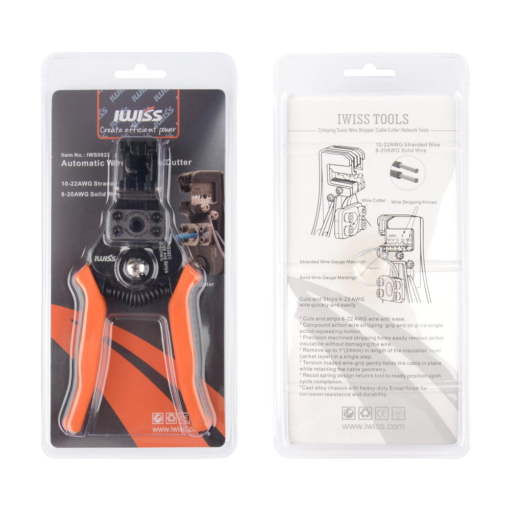 IWISS IWS-0822 0.30-8.0mm2 Electrician Wire Poking Wire Stripper Cable Pliers