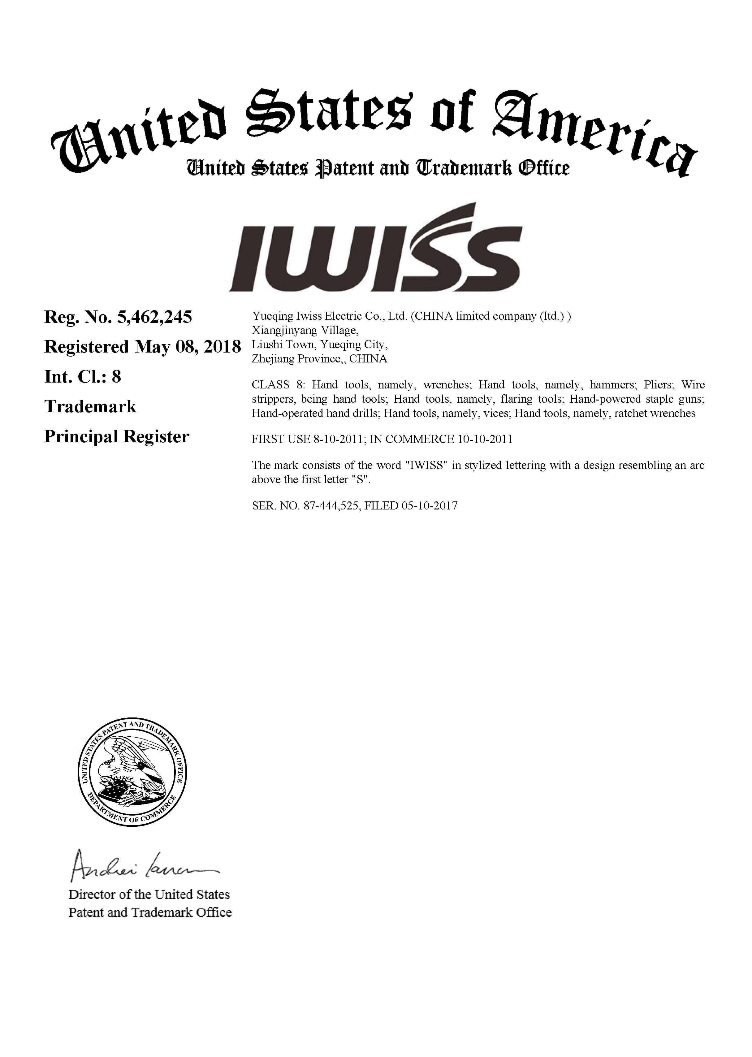 Archivo de certificación IWISS USA int.cl 8
