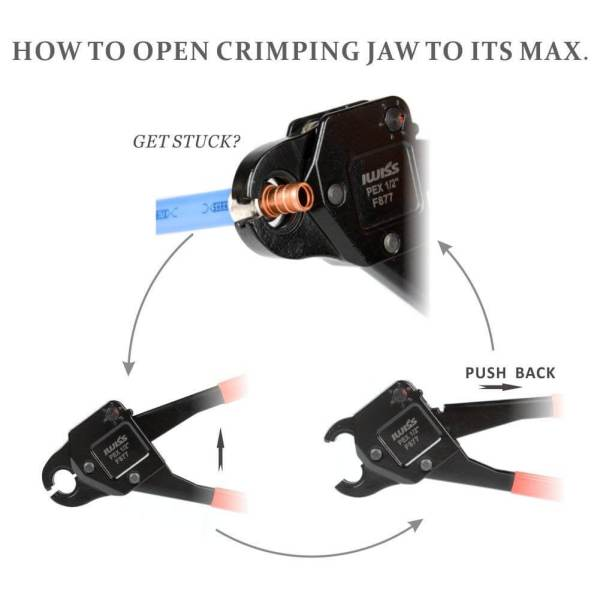 How to Open Jaw of Angled Head PEX Crimping Tool IWS-0611 1-2 inch