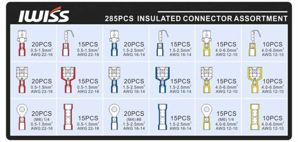 285pcs insulated terminals list
