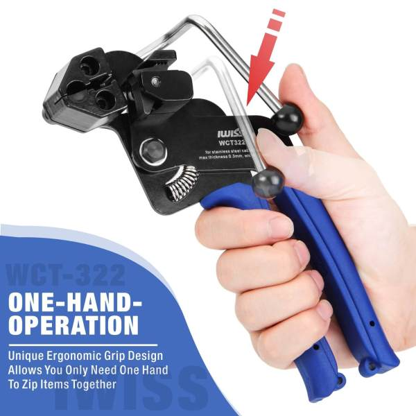 WCT322 ss cable tie gun one-hand operation
