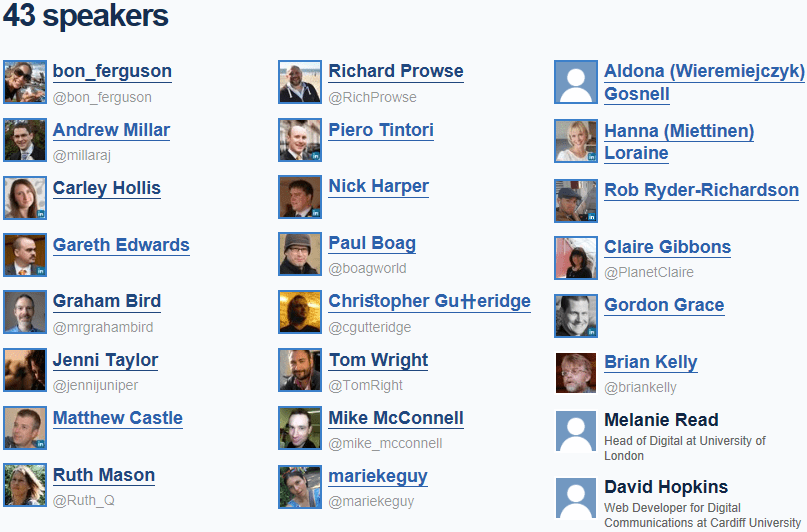 Overview of Speakers at IWMW Events
